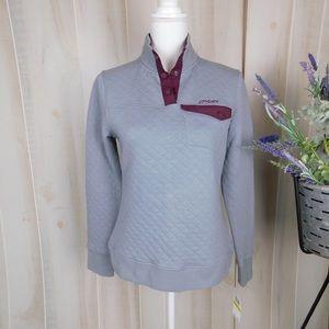 NWT Spyder Grey Cotton Quilted Pullover Sweatshirt